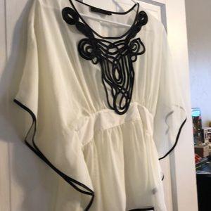 Bat sleeved sheer dressy top!